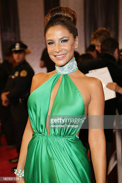 Lorena Rojas arrives at the 25th anniversary of Univision's Premio lo Nuestro a la Musica Latina at the AmericanAirlines Arena on February 21 2013 in...