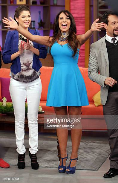 Lorena Rojas celebrates Univision's Tlnovelas cable network first anniversary on Despierta America at Univision Headquarters on March 1 2013 in Miami...