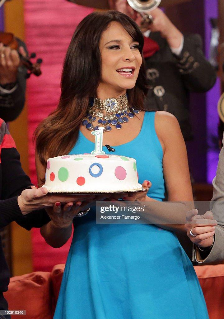 Lorena Rojas celebrates Univision's Tlnovelas cable network first anniversary on Despierta America at Univision Headquarters on March 1, 2013 in Miami, Florida.