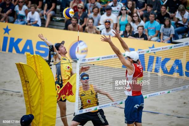 Lorenz Schuemann of Germany competes against Piotr Kantor of Poland during Day 4 of the Swatch Beach Volleyball FIVB World Tour Finals Hamburg 2017...