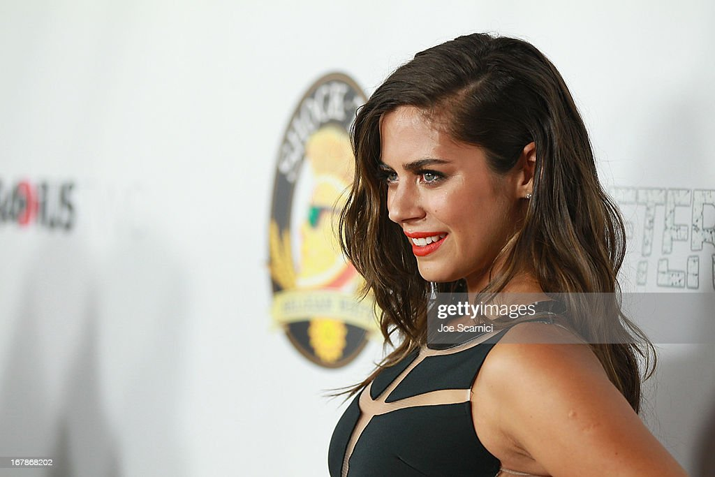 Lorenza Izzo arrives at the 'AFTERSHOCK' premiere presented by Dimension Films and RADiUS-TWC in partnership with Shock Top - Red Carpet on May 1, 2013 in Los Angeles, California.