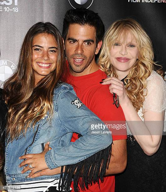 Lorenza Izzo Eli Roth and Courtney Love attend the closing night live read of 'Fast Times At Ridgemont High' at the 2015 Los Angeles Film Festival at...