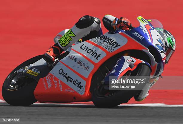 Lorenzo Baldassarri of Forward Team in action during the Moto2 race at Misano World Circuit on September 11 2016 in Misano Adriatico Italy