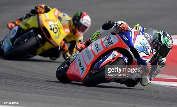 Lorenzo Baldassarri of Forward Team leads Alex Rins of Paginas Amarillas HP 40 Team during Moto2 race at Misano World Circuit on September 11 2016 in...