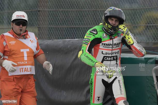 Lorenzo Baldassarri of Italy and Forward Racing Team crashed out during the Moto2 race during the MotoGp of Italy Race at Mugello Circuit on June 4...
