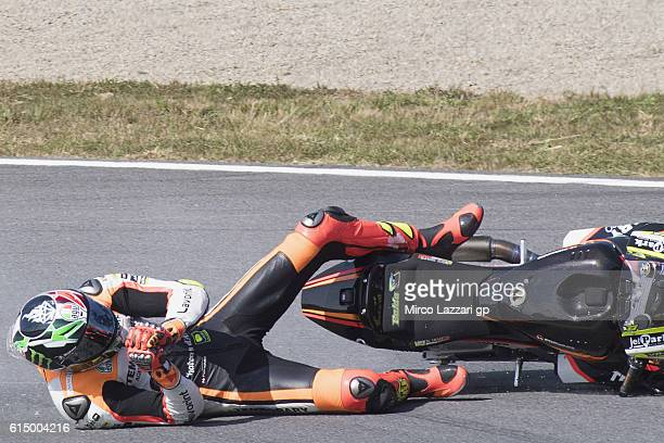 Lorenzo Baldassarri of Italy and Forward Team crashed out during the Moto2 race during the MotoGP of Japan Race at Twin Ring Motegi on October 16...