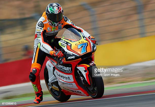 Lorenzo Baldassarri of Italy and Forward Team in action during the moto2 race during the MotoGP of Spain Race at Motorland Aragon Circuit on...