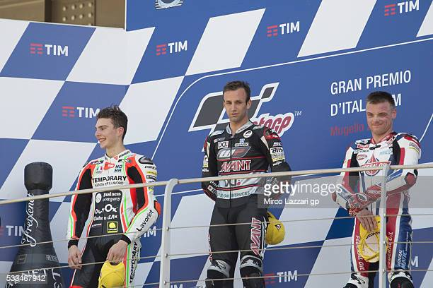 Lorenzo Baldassarri of Italy and Forward Team Johann Zarco of France and Ajo Motorsport and Sam Lowes of Britain and Feder Oil Gresini Moto2...