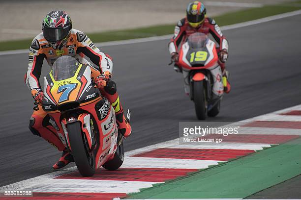 Lorenzo Baldassarri of Italy and Forward Team leads the field during the MotoGp of Austria Free Practice at Red Bull Ring on August 12 2016 in...