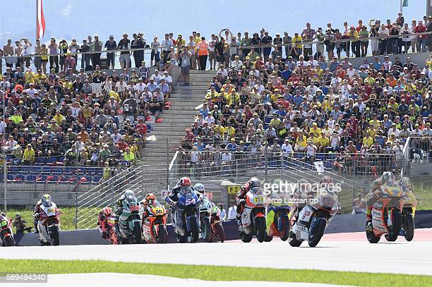 Lorenzo Baldassarri of Italy and Forward Team leads the field during the Moto2 race during the MotoGp of Austria Race at Red Bull Ring on August 14...