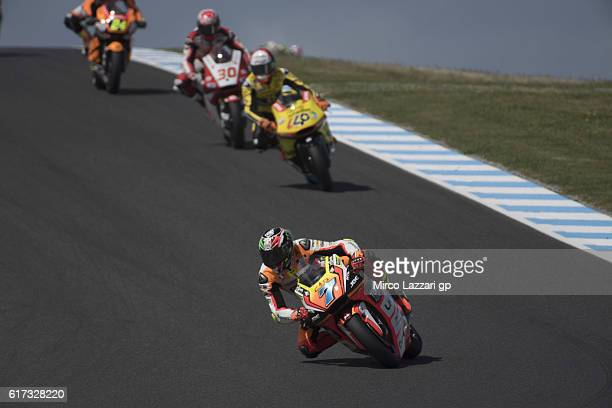 Lorenzo Baldassarri of Italy and Forward Team leads the field during the Moto2 race during the MotoGP of Australia Race during the 2016 MotoGP of...