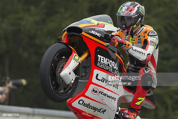 Lorenzo Baldassarri of Italy and Forward Team lifts the front wheel during the MotoGp of Czech Republic Free Practice at Brno Circuit on August 19...