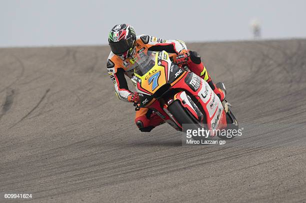 Lorenzo Baldassarri of Italy and Forward Team rounds the bend during the MotoGP of Spain Free Practice at Motorland Aragon Circuit on September 22...