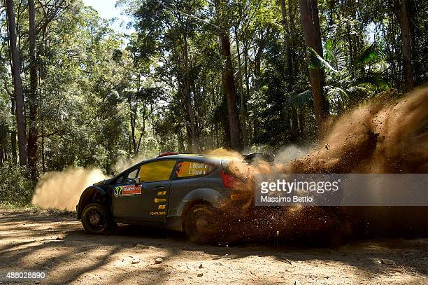 Lorenzo Bertelli of Italy and Lorenzo Granai of Italy compete in their FWRT Ford Fiesta RS WRC during Day Three of the WRC Australia on September 13...