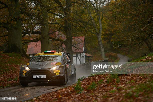 Lorenzo Bertelli of Italy and Lorenzo Granai of Italy compete in their FWRT Ford Fiesta RS WRC during Day Two of the WC Wales Rally GB on November 14...
