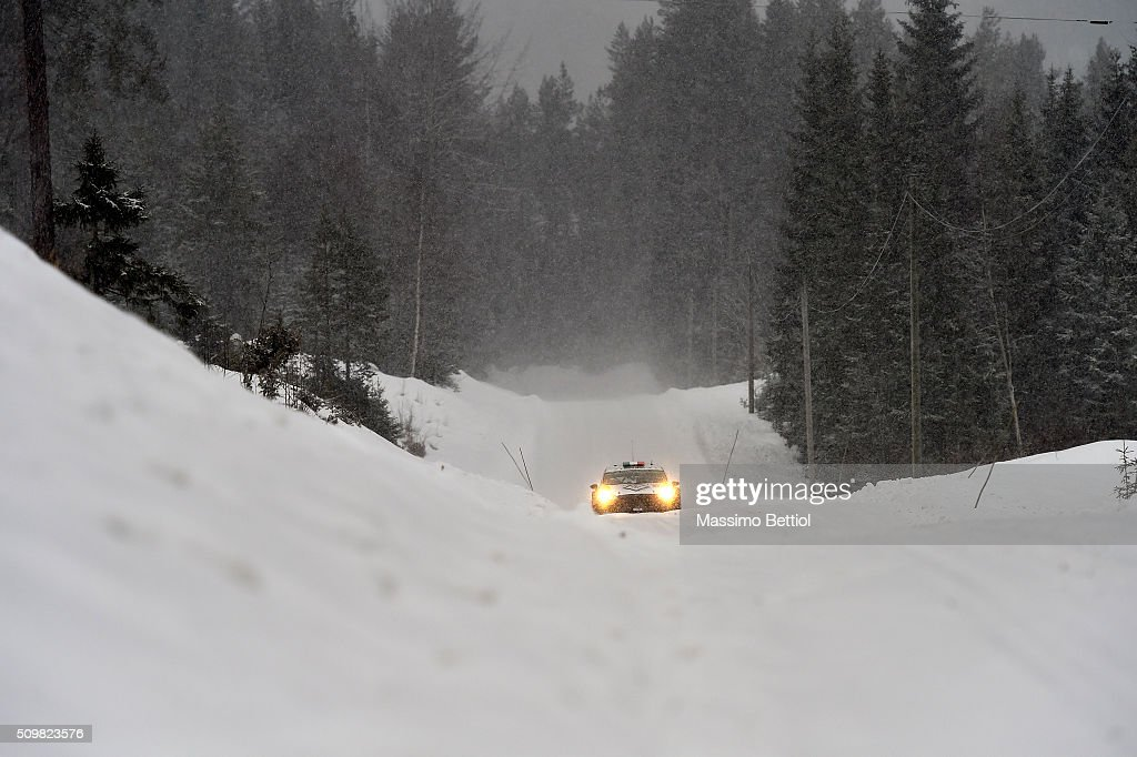 Lorenzo Bertelli of Italy and Simone Scattolin of Italy compete in their FWRT Ford Fiesta RS WRC during Day One of the WRC Sweden on February 12, 2016 in Karlstad, Sweden.