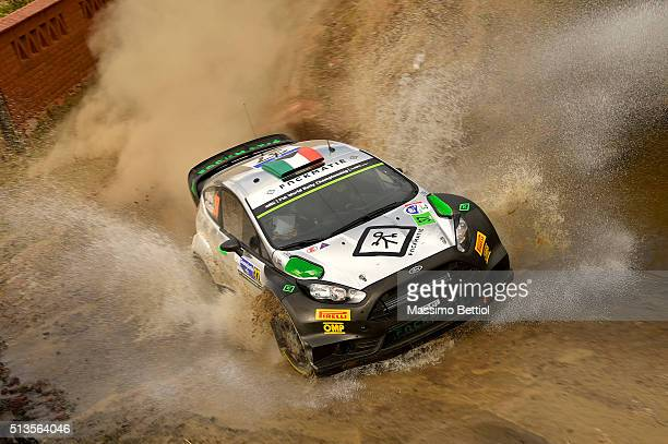 Lorenzo Bertelli of Italy and Simone Scattolin of Italy compete in their FWRT Ford Fiesta RS WRC during the Shakedown of the WRC Mexico on March 3...