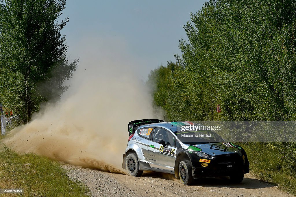 Lorenzo Bertelli of Italy and Simone Scattolin of Italy compete in their FWRT Ford Fiesta RS WRC during the Shakedown of the WRC Poland on June 30, 2016 in Mikolajki, Poland.