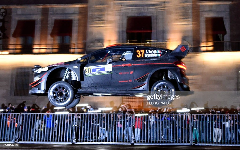Lorenzo Bertelli of Italy completes his Ford Fiesta WRC during the street stage on the first day of the FIA World Rally Championship's in Mexico City, on March 9, 2017