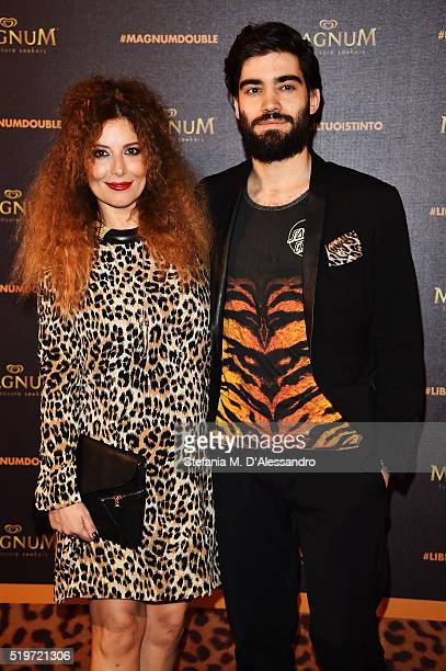 Lorenzo Biagiarelli and Selvaggia Lucarelli attends 'Libera Il Tuo Istinto' Party by Magnum on April 7 2016 in Milan Italy