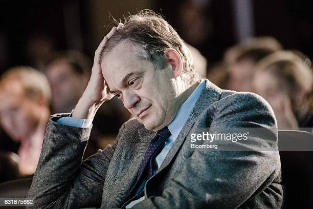 Lorenzo Bini Smaghi chairman of Societe Generale SA looks on as he sits in the audience during the Euronext NV annual news conference in Paris France...