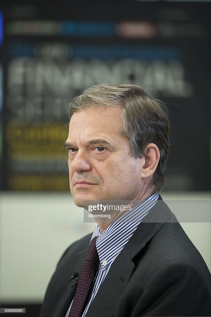 Lorenzo Bini Smaghi, chairman of Societe Generale SA, pauses during a Bloomberg Television interview at the European financial services conference in Brussels, Belgium, on Tuesday, May 24, 2016. 'The Italian together with the German banking system is too fragmented,' Smaghi said. Photographer: Jasper Juinen/Bloomberg via Getty Images