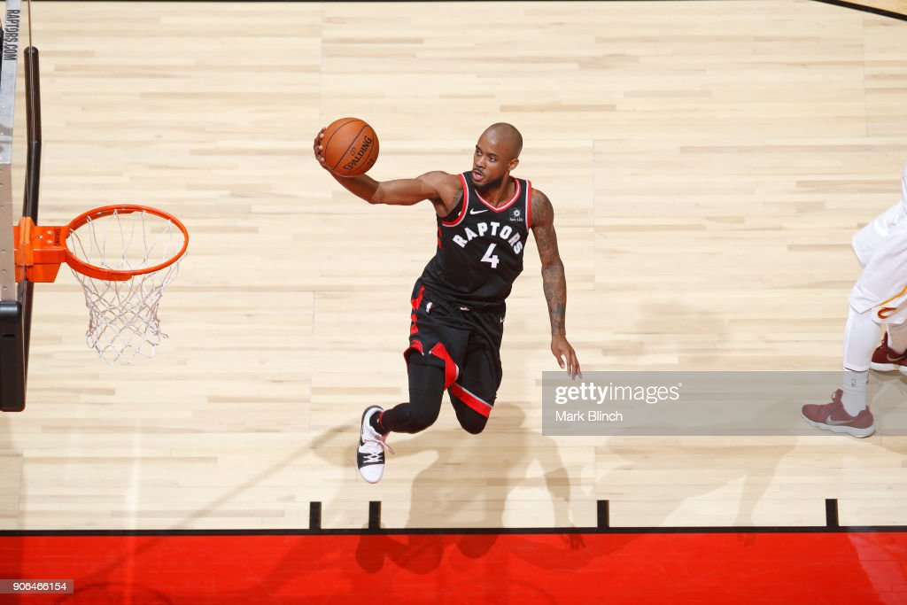 Lorenzo Brown #4 of the Toronto Raptors drives to the basket against the Cleveland Cavaliers on January 11, 2018 in Toronto, Ontario, Canada.