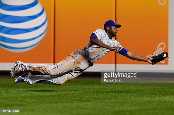 Lorenzo Cain of the Kansas City Royals catches a pop up fly to center field hit by JJ Hardy of the Baltimore Orioles in the sixth inning during Game...