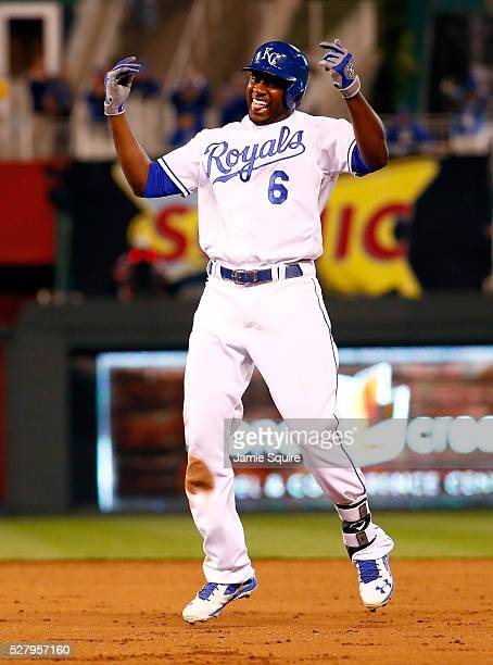 Lorenzo Cain of the Kansas City Royals celebrates after hitting the gamewinning single in the bottom of the 9th inning as the Royals defeat the...