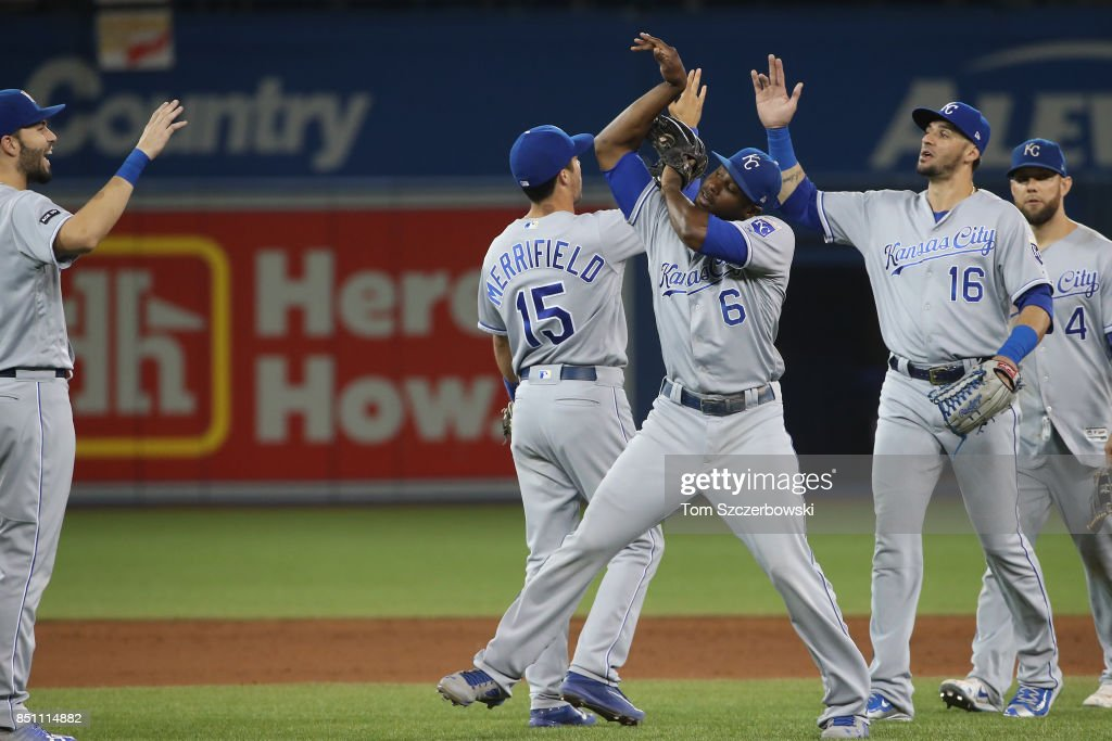 Lorenzo Cain #6 of the Kansas City Royals celebrates their victory with teammates during MLB game action against the Toronto Blue Jays at Rogers Centre on September 21, 2017 in Toronto, Canada.