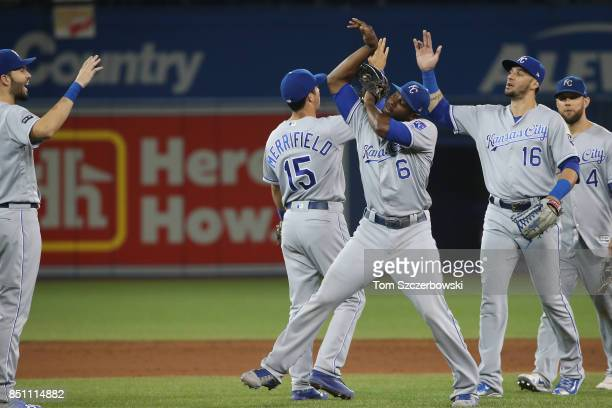 Lorenzo Cain of the Kansas City Royals celebrates their victory with teammates during MLB game action against the Toronto Blue Jays at Rogers Centre...