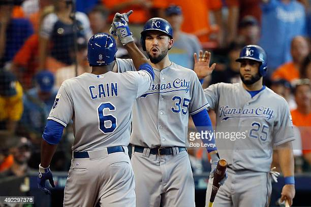Lorenzo Cain of the Kansas City Royals celebrates with Eric Hosmer of the Kansas City Royals after hitting a solo home run in the fourth inning...