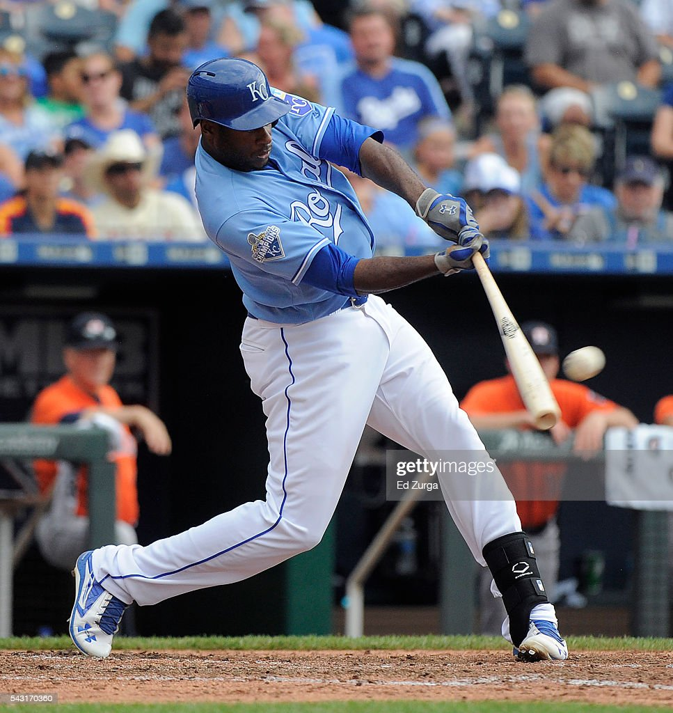 <a gi-track='captionPersonalityLinkClicked' href=/galleries/search?phrase=Lorenzo+Cain&family=editorial&specificpeople=5746615 ng-click='$event.stopPropagation()'>Lorenzo Cain</a> #6 of the Kansas City Royals hits a double in the seventh inning against the Houston Astros at Kauffman Stadium on June 26, 2016 in Kansas City, Missouri.