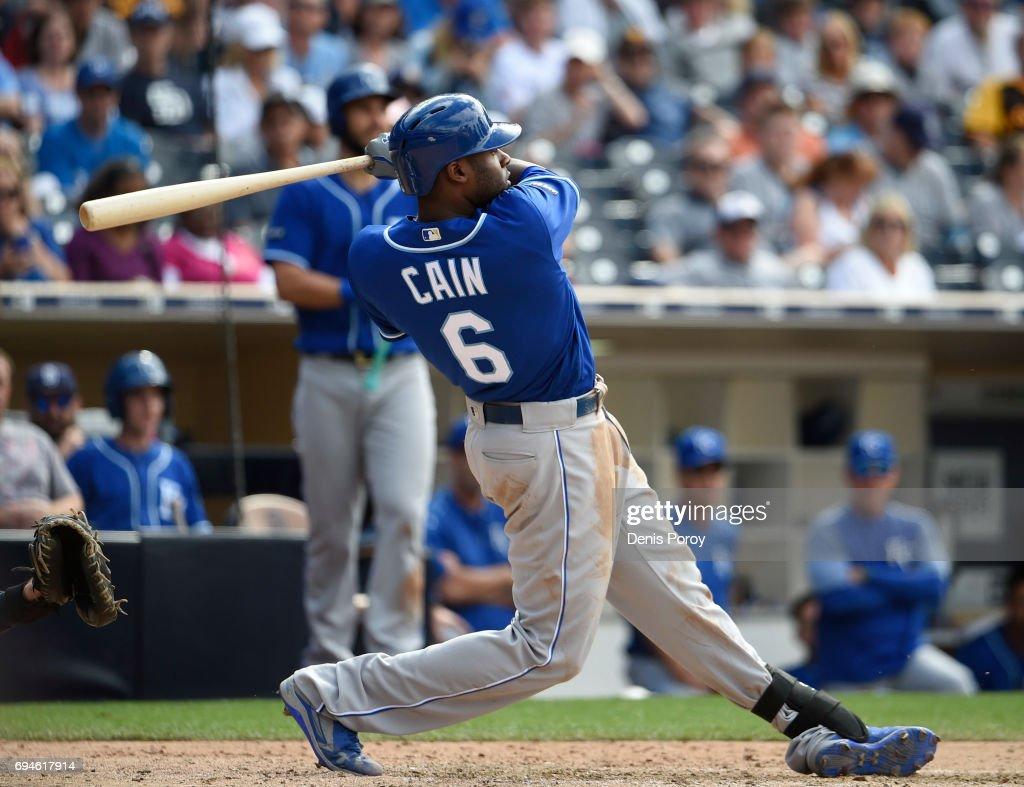 Lorenzo Cain #6 of the Kansas City Royals hits a grand slam during the eighth inning of a baseball game against the San Diego Padres at PETCO Park on June 10, 2017 in San Diego, California.