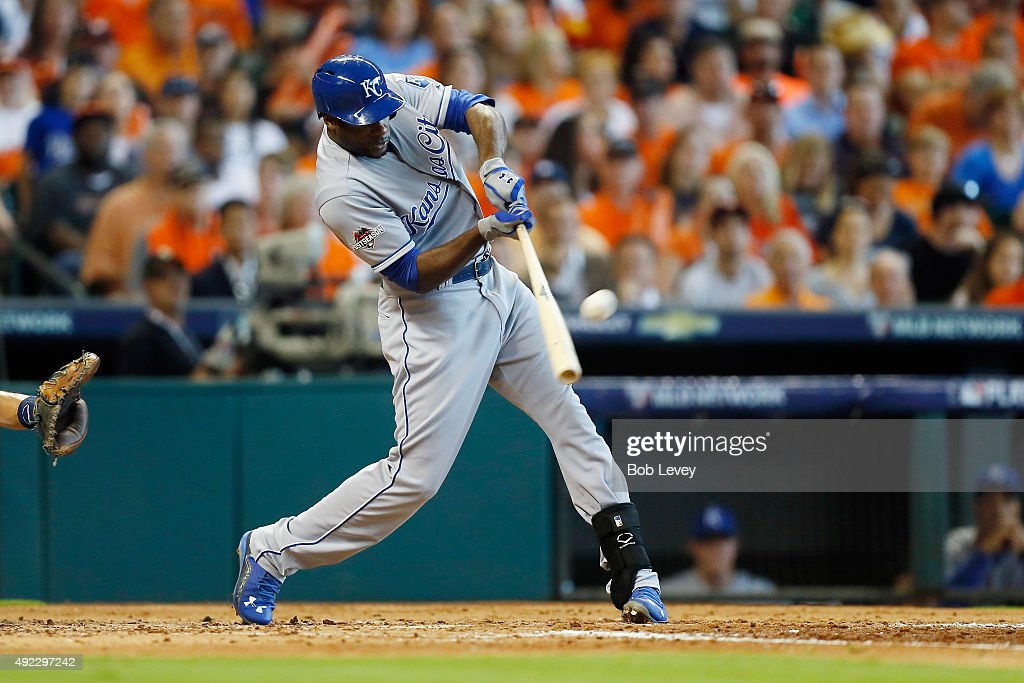 Lorenzo Cain of the Kansas City Royals hits a solo home run in the fourth inning against the Houston Astros in game three of the American League...
