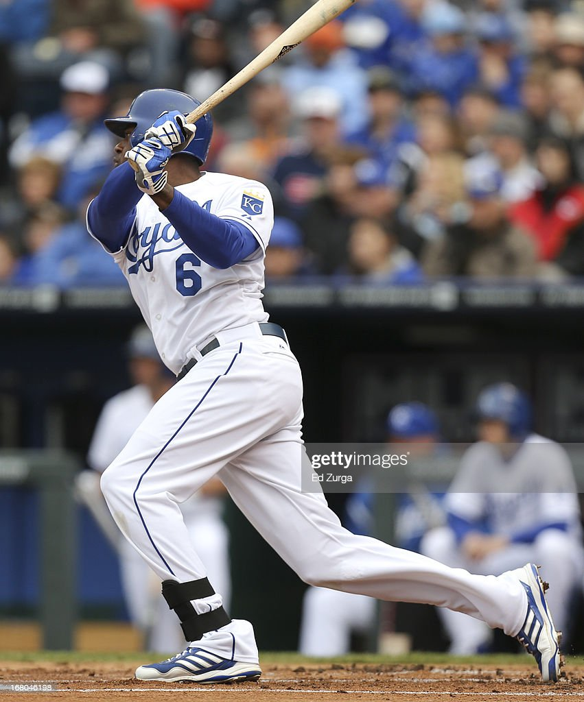 <a gi-track='captionPersonalityLinkClicked' href=/galleries/search?phrase=Lorenzo+Cain&family=editorial&specificpeople=5746615 ng-click='$event.stopPropagation()'>Lorenzo Cain</a> #6 of the Kansas City Royals hits a two-run triple against the Chicago White Sox in the first inning at Kauffman Stadium on May 4, 2013 in Kansas City, Missouri.
