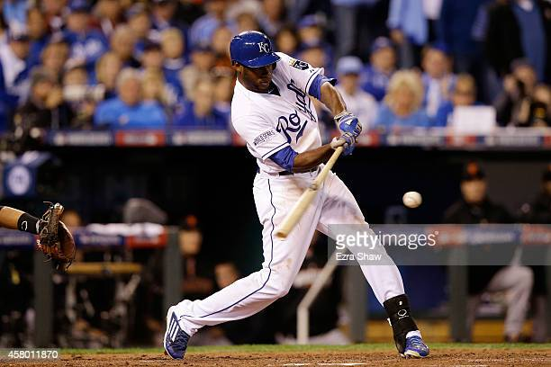 Lorenzo Cain of the Kansas City Royals hits an RBI ground rule double in the third inning against the San Francisco Giants during Game Six of the...