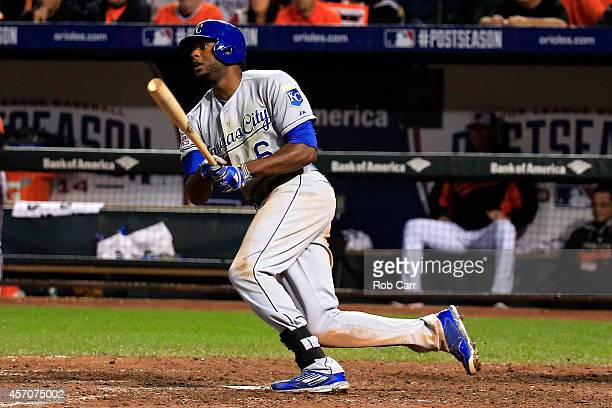 Lorenzo Cain of the Kansas City Royals hits an RBI single to left field scoring Alcides Escobar in the ninth inning against Zach Britton of the...