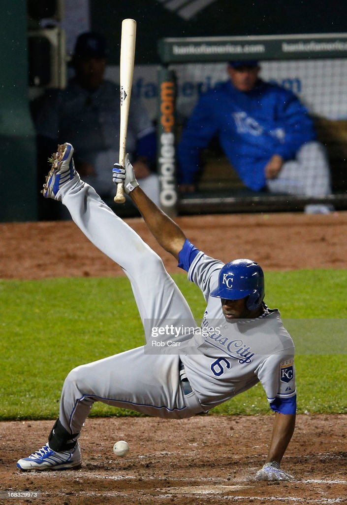 <a gi-track='captionPersonalityLinkClicked' href=/galleries/search?phrase=Lorenzo+Cain&family=editorial&specificpeople=5746615 ng-click='$event.stopPropagation()'>Lorenzo Cain</a> #6 of the Kansas City Royals is hit by a pitch in the eighth inning against the Baltimore Orioles at Oriole Park at Camden Yards on May 8, 2013 in Baltimore, Maryland.