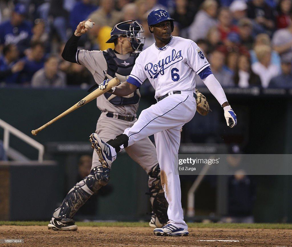 <a gi-track='captionPersonalityLinkClicked' href=/galleries/search?phrase=Lorenzo+Cain&family=editorial&specificpeople=5746615 ng-click='$event.stopPropagation()'>Lorenzo Cain</a> #6 of the Kansas City Royals kicks his bat after striking out as Chris Stewart #19 of the New York Yankees throws the ball back to the mound in the eighth inning at Kauffman Stadium on May 11, 2013 in Kansas City, Missouri.
