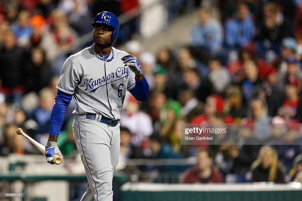 Lorenzo Cain #6 of the Kansas City Royals looks on after striking out in the sixth inning of the game against the Philadelphia Phillies at Citizens Bank Park on April 6, 2013 in Philadelphia, Pennsylvania. The Phillies won 4-3.