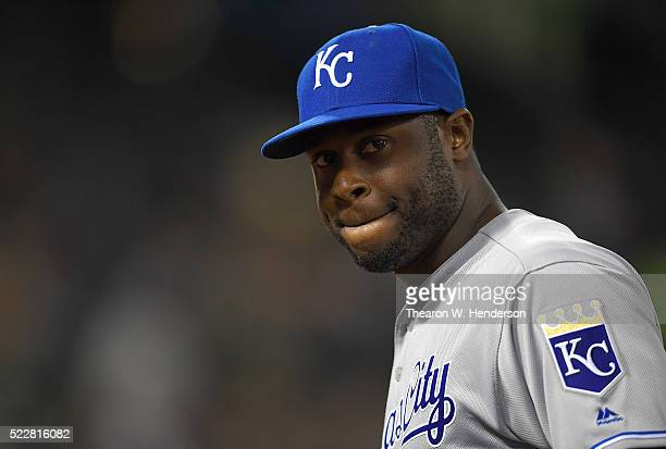Lorenzo Cain of the Kansas City Royals looks on as he walks off the field at the end of the seventh inning against the Oakland Athletics at Oco...