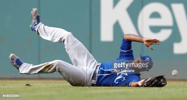 Lorenzo Cain of the Kansas City Royals makes a diving attempt on a single by Yandy Diaz of the Cleveland Indians during the third inning at...