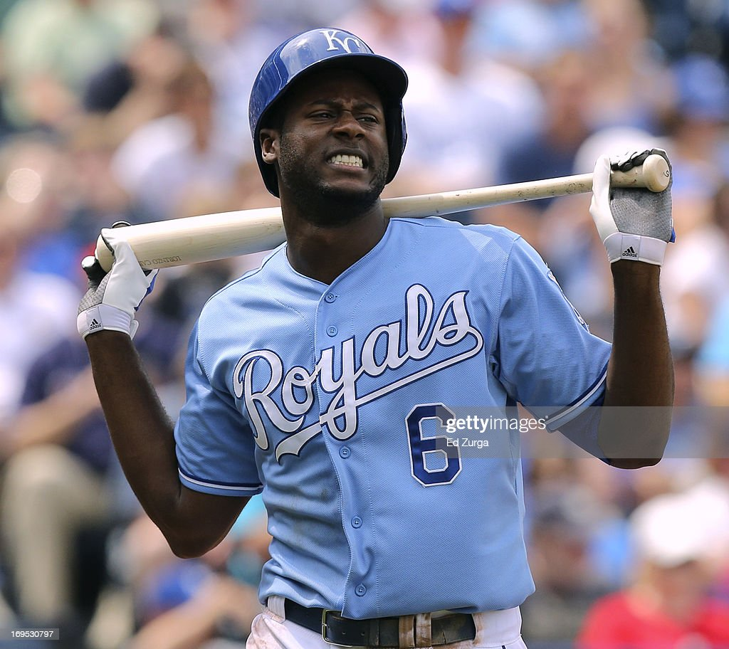 Lorenzo Cain of the Kansas City Royals reacts after striking out in the sixth inning against the Los Angeles Angels of Anaheim at Kauffman Stadium on...