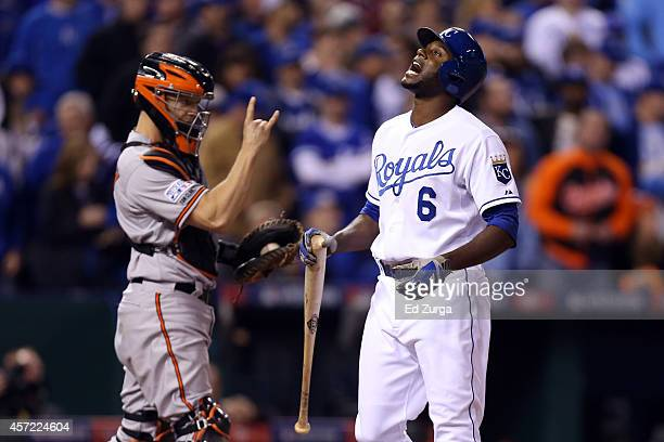 Lorenzo Cain of the Kansas City Royals reacts after striking out in the sixth inning against the Baltimore Orioles during Game Three of the American...