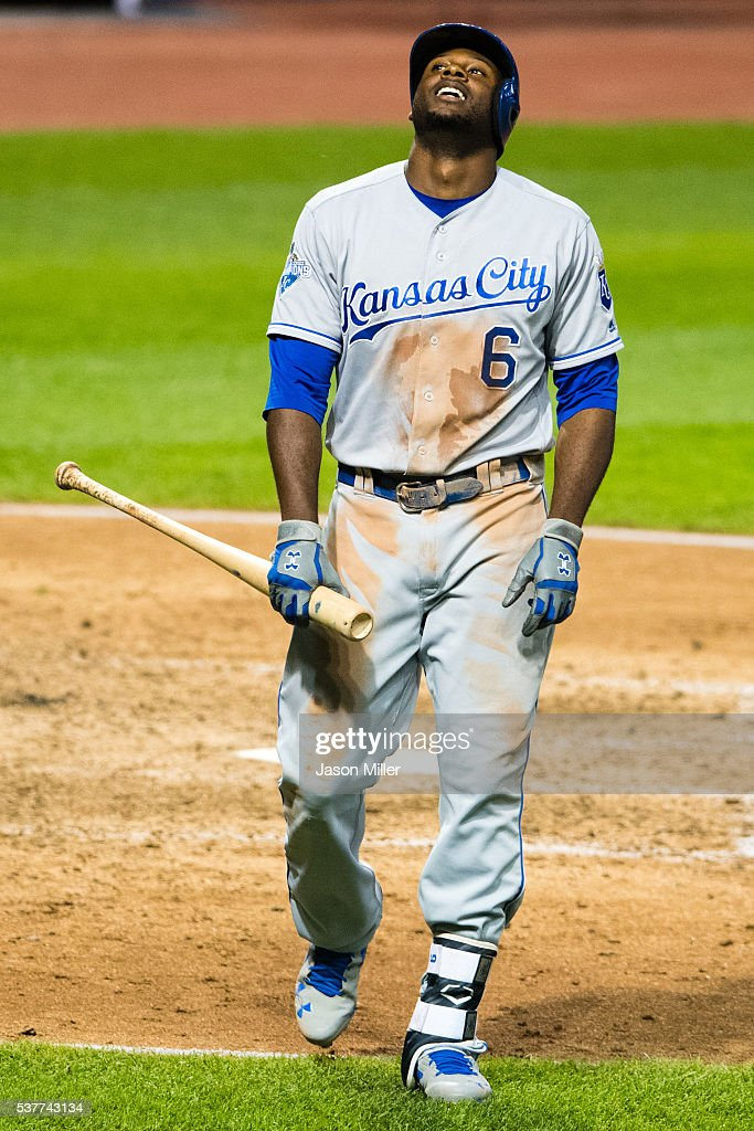 Lorenzo Cain #6 of the Kansas City Royals reacts after striking out in the seventh inning against the Cleveland Indians at Progressive Field on June 2, 2016 in Cleveland, Ohio.