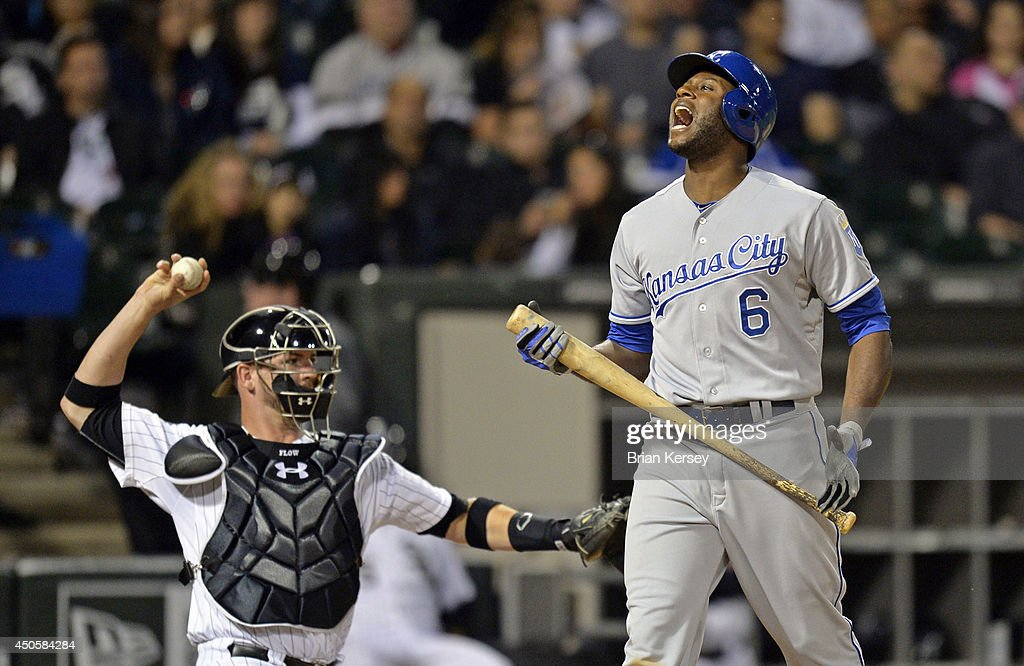 Lorenzo Cain #6 of the Kansas City Royals reacts after striking out during the sixth inning against the Chicago White Sox at U.S. Cellular Field on June 13, 2014 in Chicago, Illinois.