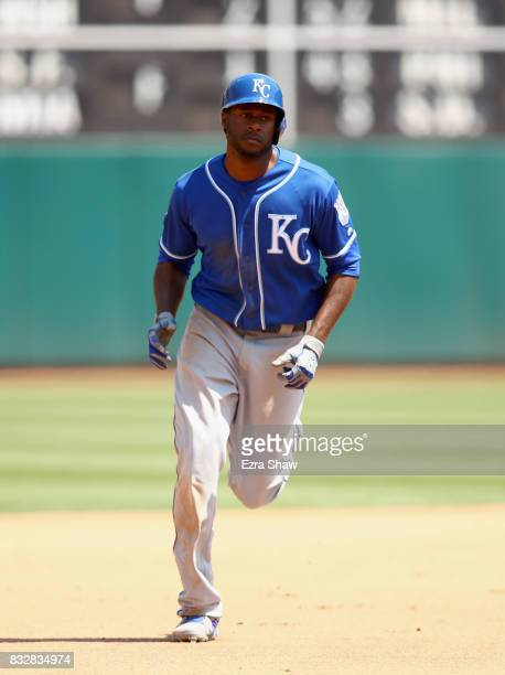 Lorenzo Cain of the Kansas City Royals rounds the bases after hitting a tworun home run in the fourth inning against the Oakland Athletics at Oakland...