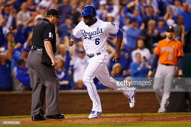Lorenzo Cain of the Kansas City Royals scores a run in the fourth inning after Eric Hosmer of the Kansas City Royals hits an RBI single against the...