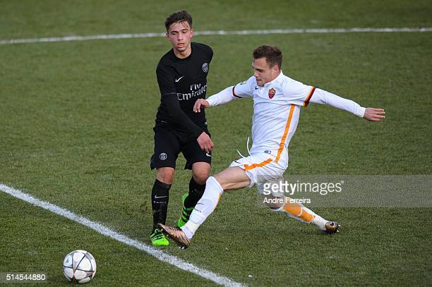 Lorenzo Callegari of PSG and Lorenzo Di Livio of AS Roma during the Youth League match between Paris SaintGermain and AS Roma at Camp des Loges on...
